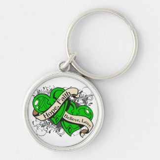 Childhood Depression Hope Faith Dual Hearts Silver-Colored Round Key Ring