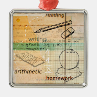 Childhood Education Montage Silver-Colored Square Decoration