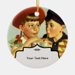 Childhood Sweethearts Double-Sided Ceramic Round Christmas Ornament