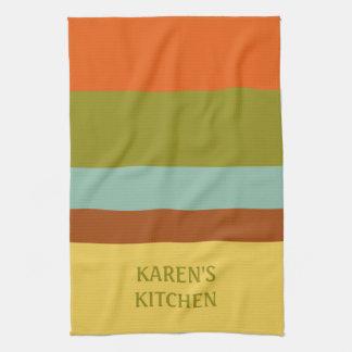 Childhood Vacation Palette Stripe Personalized Tea Towel