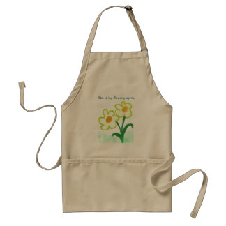 Childish Flower Watercolor Painting with Text Standard Apron