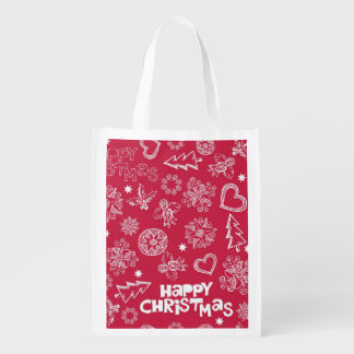 Childlike Christmas doodles Reusable Grocery Bag