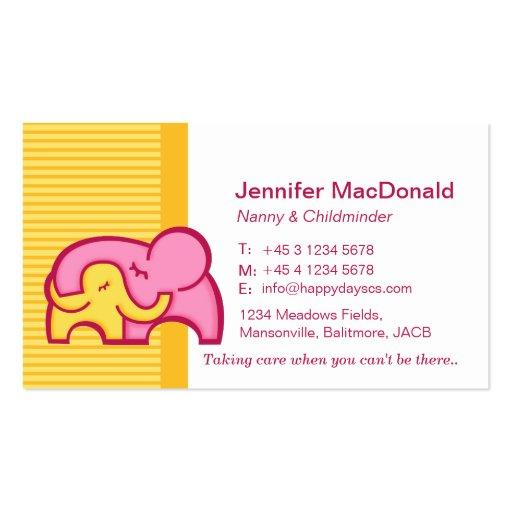 Childminder/ baby sitter / carer business cards