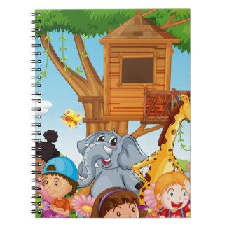 Children and animals in the garden notebook