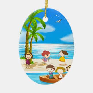 Children and beach ceramic oval decoration
