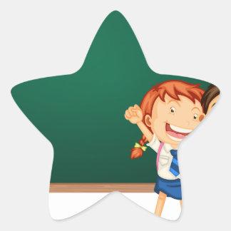 Children and board star sticker