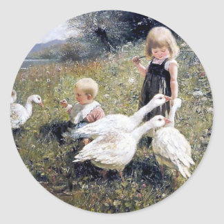 Children and Geese painting Classic Round Sticker