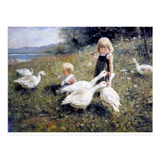 Children and Geese painting Postcard