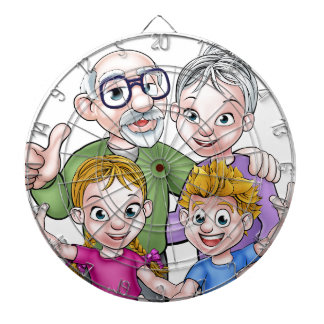Children and Grandparents Cartoon Characters Dartboard