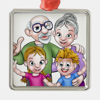 Children and Grandparents Cartoon Characters Silver-Colored Square Decoration