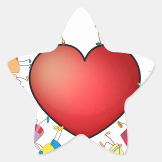 Children and heart star sticker