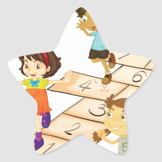 Children and hopscotch star sticker