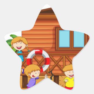 Children and hut star sticker