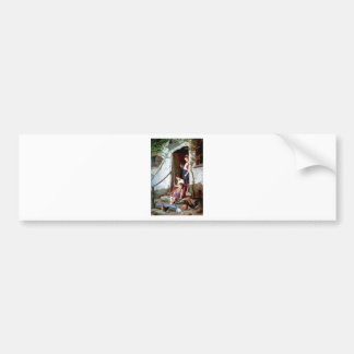 Children and rooster with hens painting bumper sticker