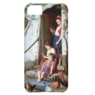 Children and rooster with hens painting iPhone 5C cases