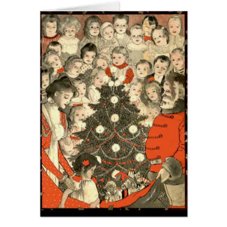 Children and Santa, a vintage Christmas Greeting Card