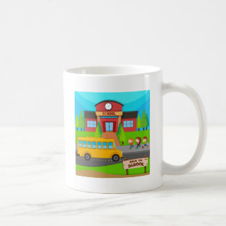 Children and school bus at school basic white mug