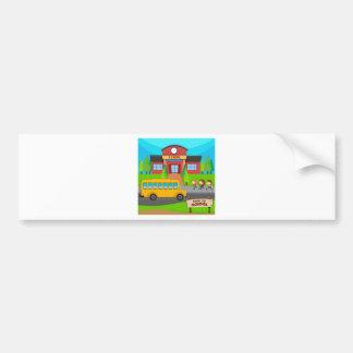 Children and school bus at school bumper sticker