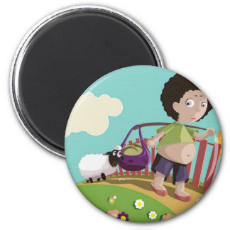 children and the sheep 6 cm round magnet