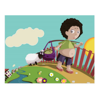children and the sheep postcard