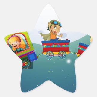 Children and train star sticker