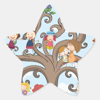 Children and tree star sticker