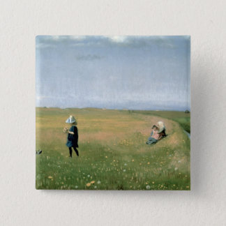 Children and Young Girls picking Flowers 15 Cm Square Badge