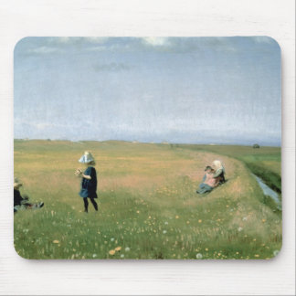 Children and Young Girls picking Flowers Mouse Mat