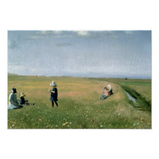 Children and Young Girls picking Flowers Poster