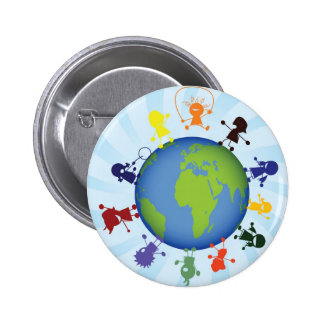 Children around the globe 6 cm round badge