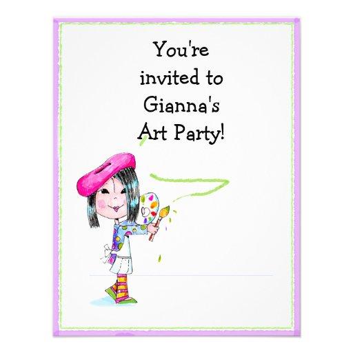 Children Artist Party Birthday Invitation