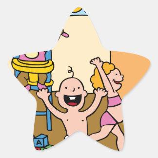 Children At A Daycare Center Cartoon Star Sticker