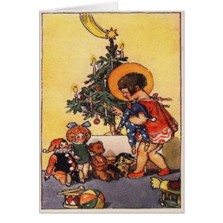 Children At Christmas Tree Card