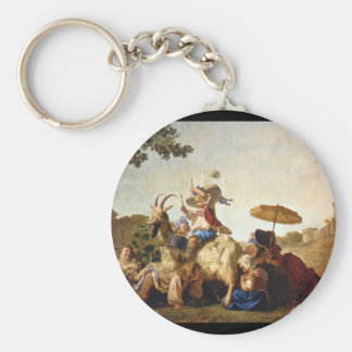 Children at Play' (detail)_Groups and Figures Basic Round Button Key Ring