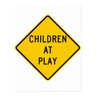 Children at Play Highway Sign Postcard