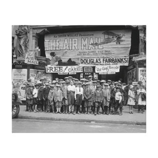 Children at the Movies 1925 Stretched Canvas Print