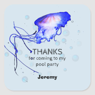Children Birthday Pool Party Jellyfish Thank You Square Sticker