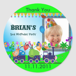 Children Birthday Thank You S: Train Round Sticker