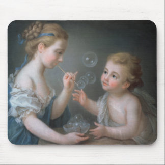 Children blowing bubbles mouse mat