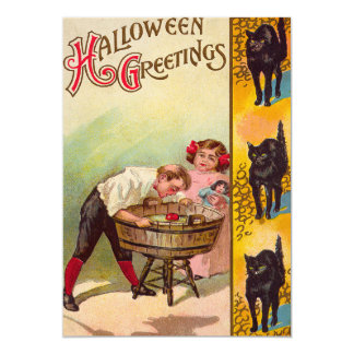 Children Bobbing For Apples Black Cat 13 Cm X 18 Cm Invitation Card