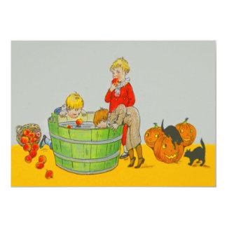Children Bobbing For Apples Jack O' Lantern 13 Cm X 18 Cm Invitation Card