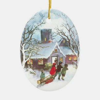 Children Bring Home Yule Log Vintage Christmas Christmas Ornament