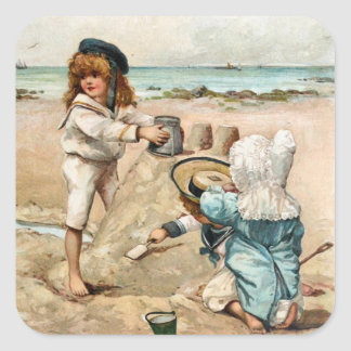 Children Build Vintage Sandcastle Square Sticker