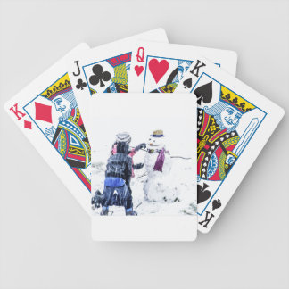 Children Building Snowman Artsy Cutout Bicycle Playing Cards