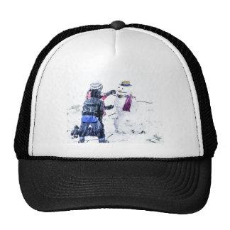 Children Building Snowman Artsy Cutout Cap