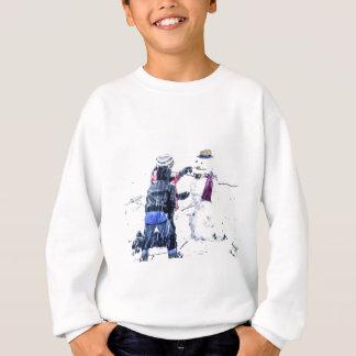 Children Building Snowman Artsy Cutout Sweatshirt