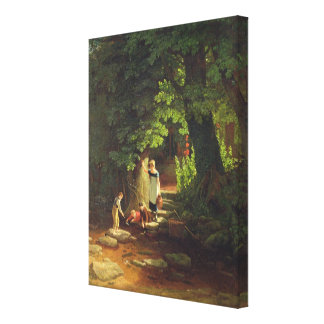 Children by a Brook, c.1822 (oil on panel) Canvas Print