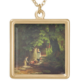 Children by a Brook, c.1822 (oil on panel) Gold Plated Necklace