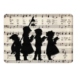 Children Carolers With Ancient Christmas Music 13 Cm X 18 Cm Invitation Card