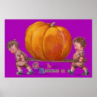 Children Carrying Giant Pumpkin Purple Poster